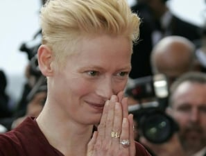 British actress Tilda Swinton arrives for the opening ceremony of the 62nd International film fes...